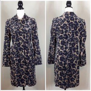 Boden Long Cheetah Print Cotton Velvet Coat